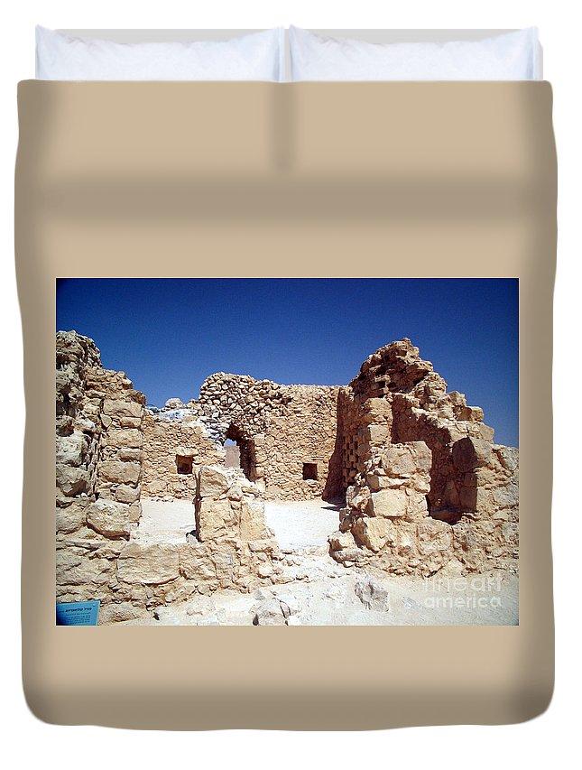 Massada Duvet Cover featuring the photograph Remains Of The Massada Synagogue by Avi Horovitz