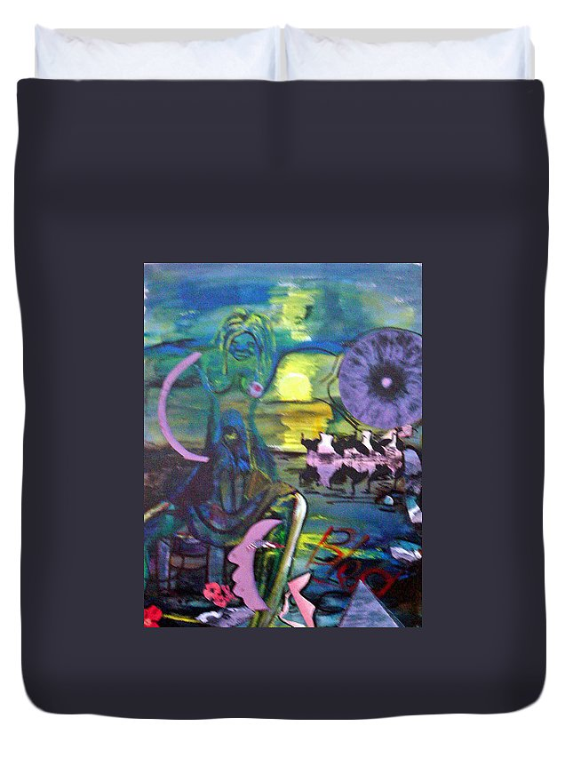 Water Duvet Cover featuring the painting Remembering 9-11 by Peggy Blood