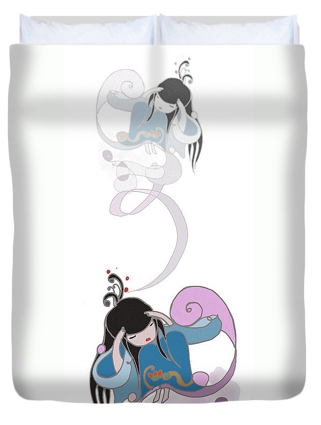 Manga Duvet Cover featuring the digital art Remembering by Angelina Marino