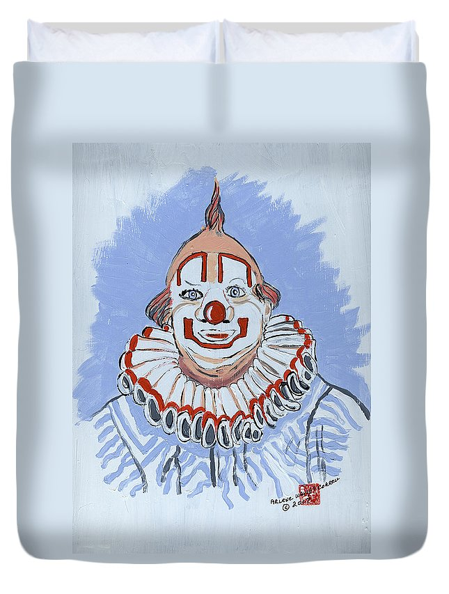 Clowns Duvet Cover featuring the painting Remembering Clarabelle The Clown by Arlene Wright-Correll