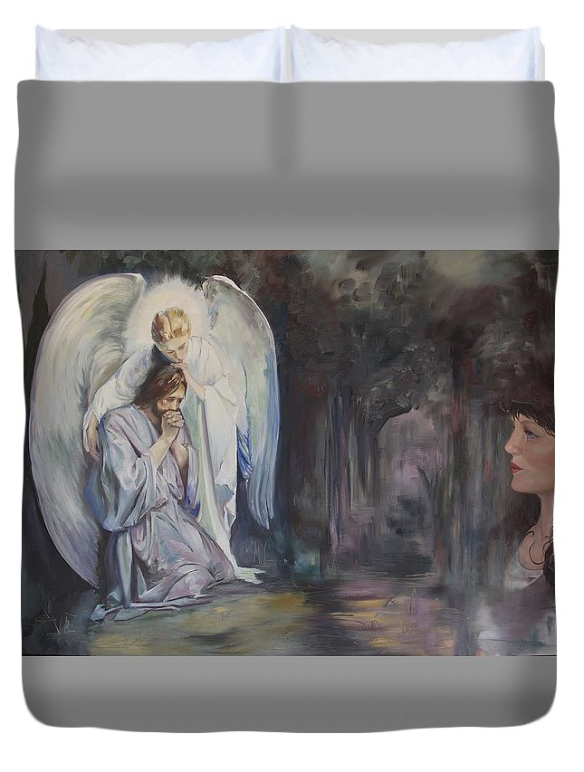 Nila Jane Autry Duvet Cover featuring the painting Remembering Experiencing Being There by Nila Jane Autry