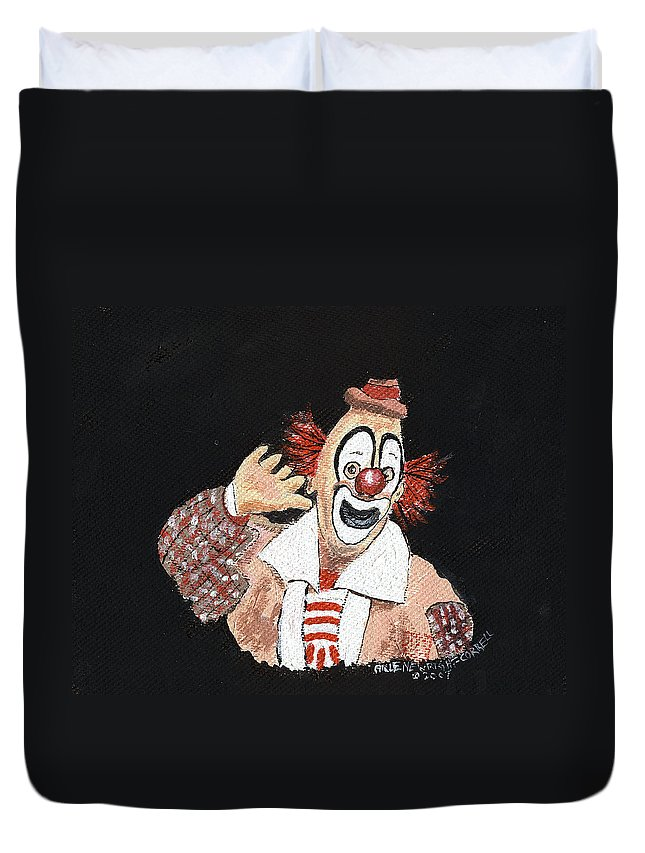 Clowns Duvet Cover featuring the painting Remembering Lou Jacobs by Arlene Wright-Correll