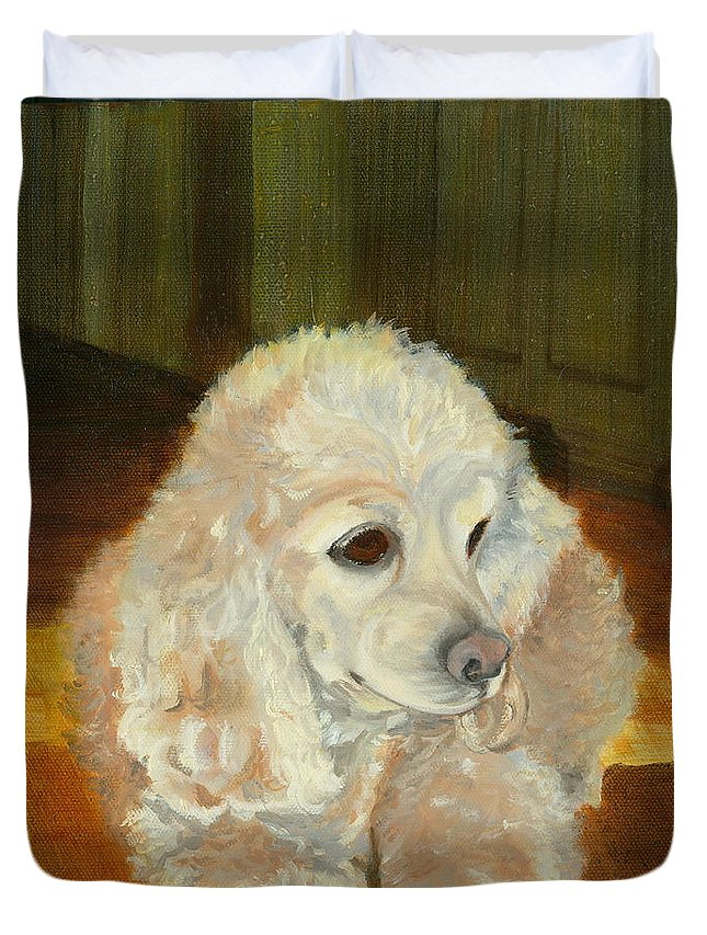 Animal Duvet Cover featuring the painting Remembering Morgan by Paula Emery