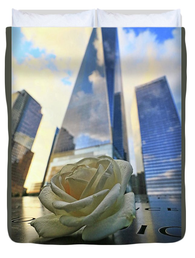 Memorial Duvet Cover featuring the photograph Remembering With A Rose by Allen Beatty