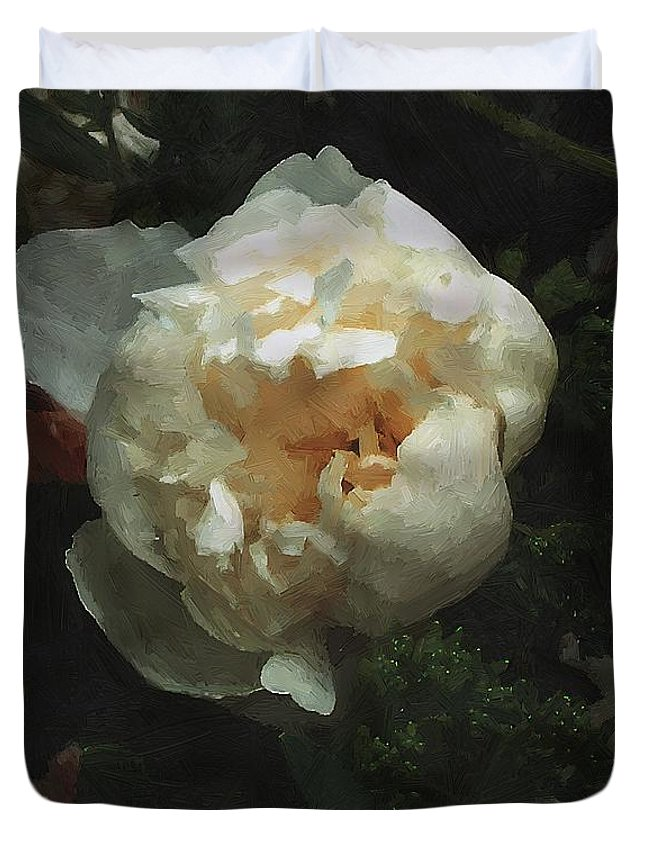 Flower Duvet Cover featuring the painting Remembrance In White by RC DeWinter