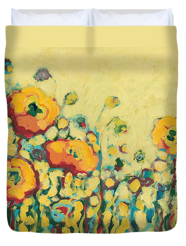 Floral Duvet Cover featuring the painting Reminiscing On A Summer Day by Jennifer Lommers