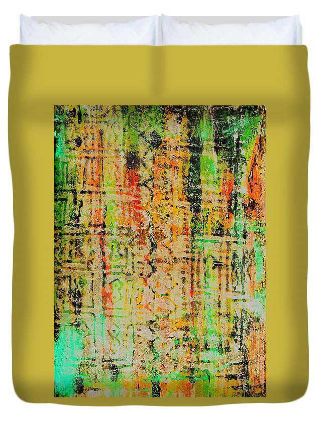 Monoprint Duvet Cover featuring the painting Remnants Of The Homeland by Wayne Potrafka
