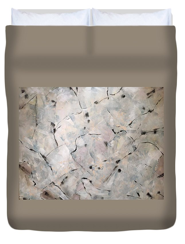 Abstract Duvet Cover featuring the painting Rencontres by Cristina Stefan
