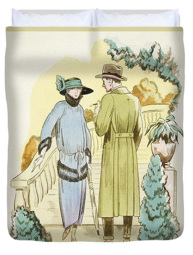 Rendezvous Duvet Cover featuring the drawing Rendezvous, Outfit And Ulster Overcoat by German School