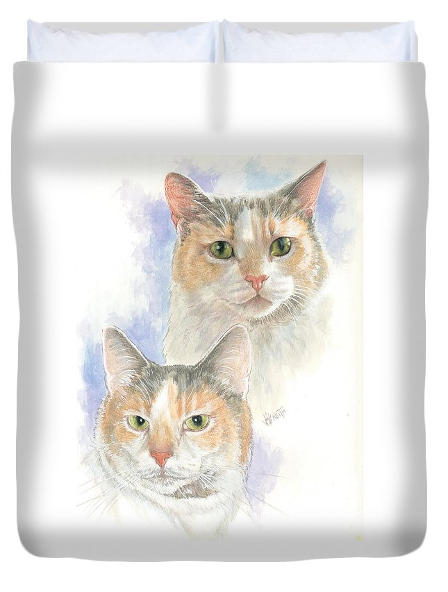 Domestic Cat Duvet Cover featuring the mixed media Reno by Barbara Keith