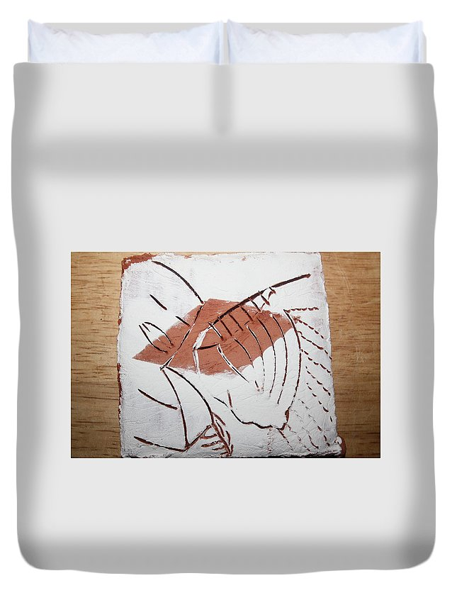 Jesus Duvet Cover featuring the ceramic art Repose - Tile by Gloria Ssali