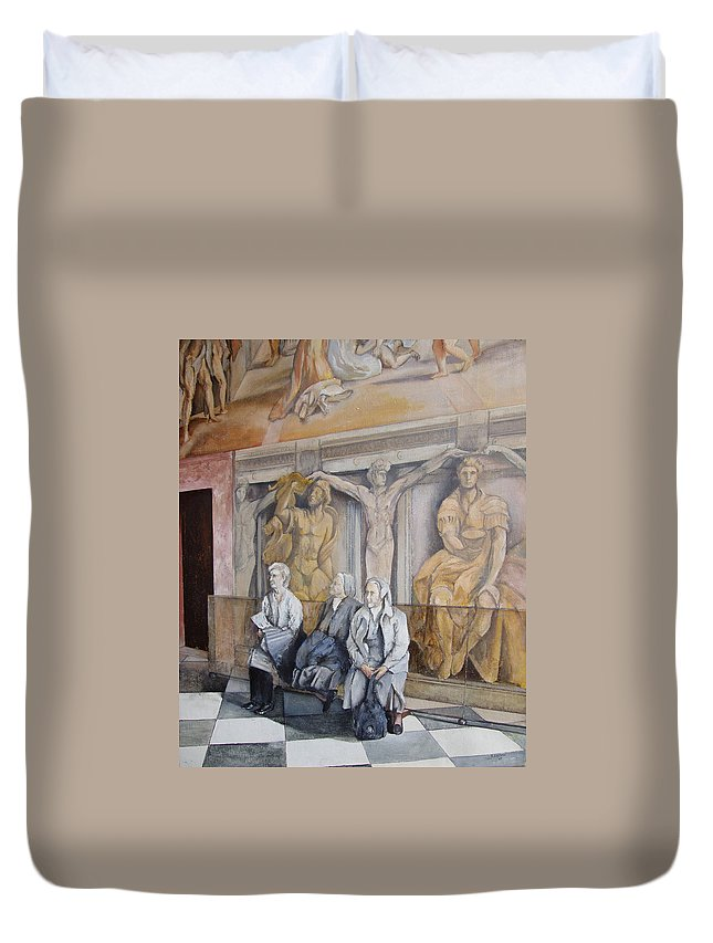 Vaticano Duvet Cover featuring the painting Reposo En El Vaticano by Tomas Castano