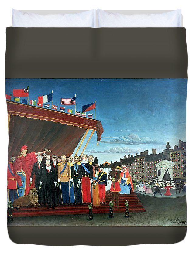 Representatives Duvet Cover featuring the painting Representatives Of The Forces Greeting The Republic As A Sign Of Peace by Henri Rousseau