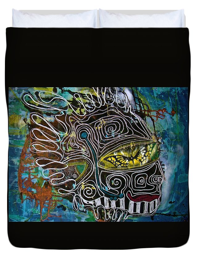 Abstract Duvet Cover featuring the mixed media Requiem by Alice Schwager