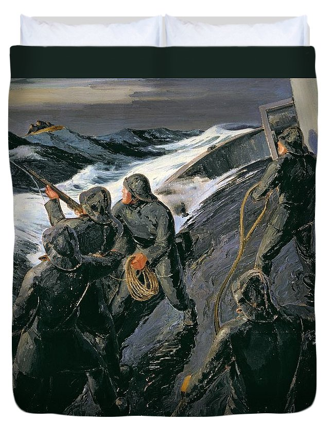 Rescue - Firing A Costen Gun Line (oil On Canvas) By Thomas Harold Beament (1898-1985) Duvet Cover featuring the painting Rescue by Thomas Harold Beament