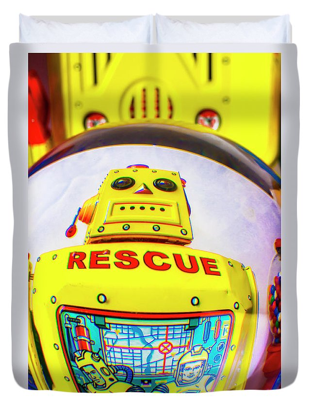 Robots Duvet Cover featuring the photograph Rescue Yellow Bot by Garry Gay
