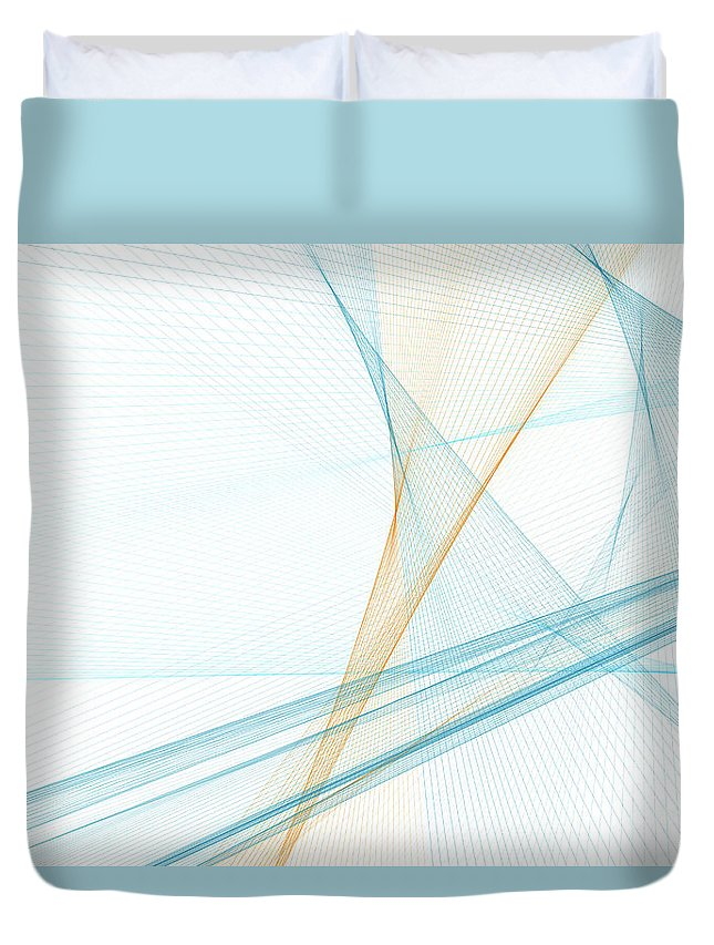 Abstract Duvet Cover featuring the digital art Research Computer Graphic Line Pattern by Frank Ramspott