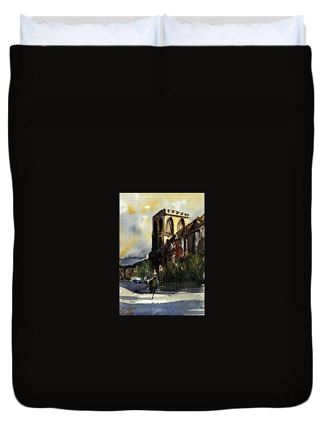 Catholic Duvet Cover featuring the painting Residences, Catholic University by James Nyika