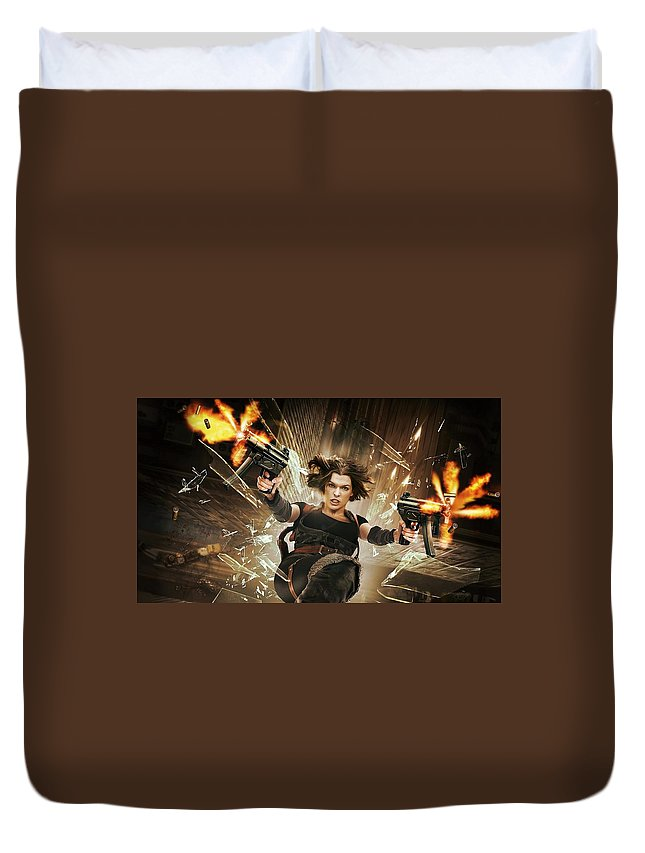 Resident Evil Afterlife Duvet Cover featuring the digital art Resident Evil Afterlife by Bert Mailer