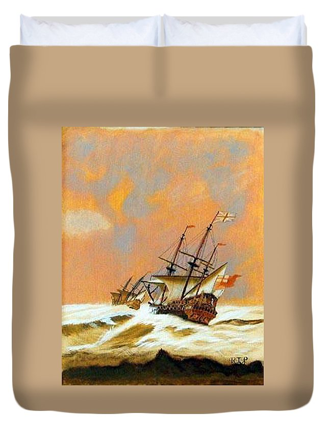 Resolution Duvet Cover featuring the painting Resolution by Richard Le Page