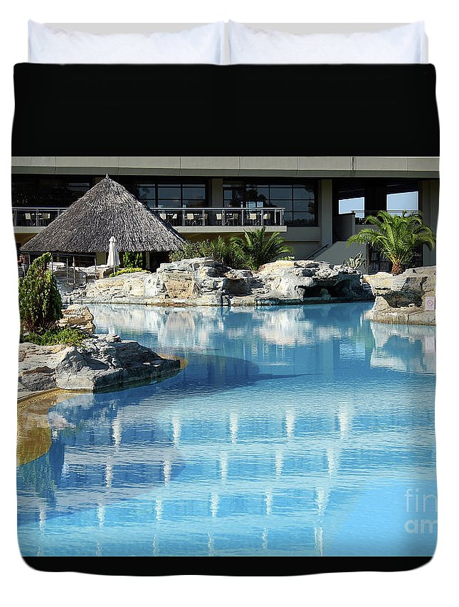Open Duvet Cover featuring the photograph Resort With Swimming Pool by Goce Risteski