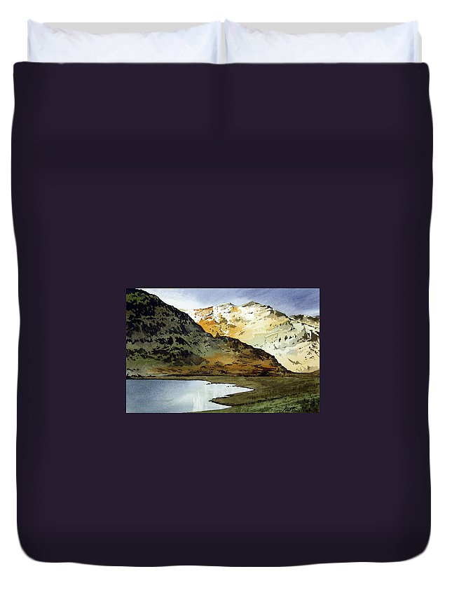 Watercolour Landscape Of Scottish Mountains Duvet Cover featuring the painting Rest And Be Thankful Pass by Paul Dene Marlor