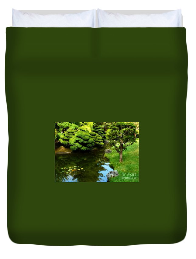 Peaceful Garden Duvet Cover featuring the photograph Rest By The Pond by Carol Groenen