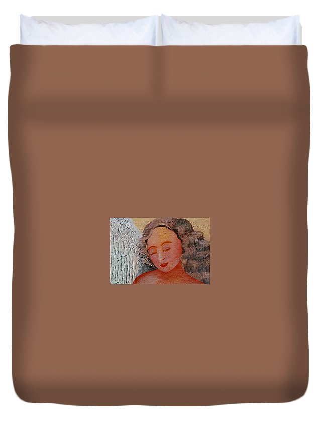 Angel Duvet Cover featuring the painting Rest by Catt Kyriacou
