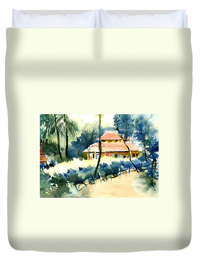 Landscape Duvet Cover featuring the painting Rest House by Anil Nene