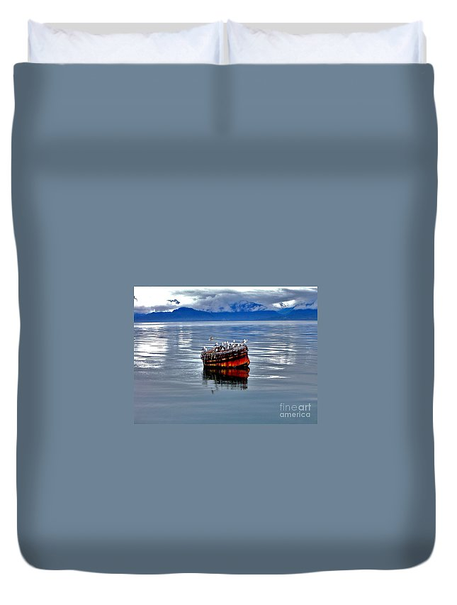 Buoy Duvet Cover featuring the photograph Rest Stop by Rick Monyahan