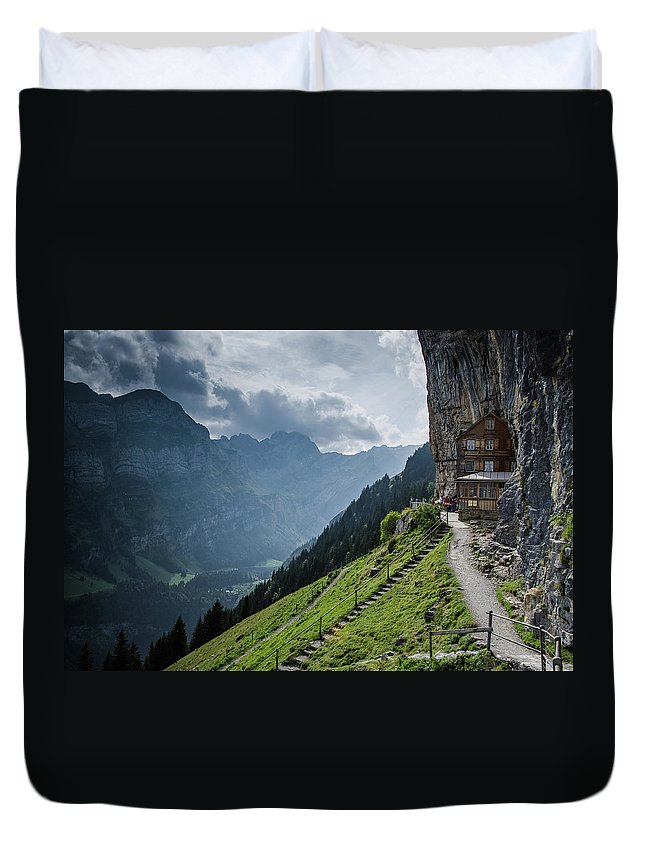 Switzerland Duvet Cover featuring the photograph Restaurant In The Sky by Deborah Hughes