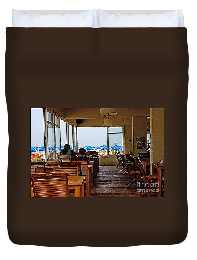 Beach Duvet Cover featuring the photograph Restaurant On A Beach In Tel Aviv Israel by Zal Latzkovich
