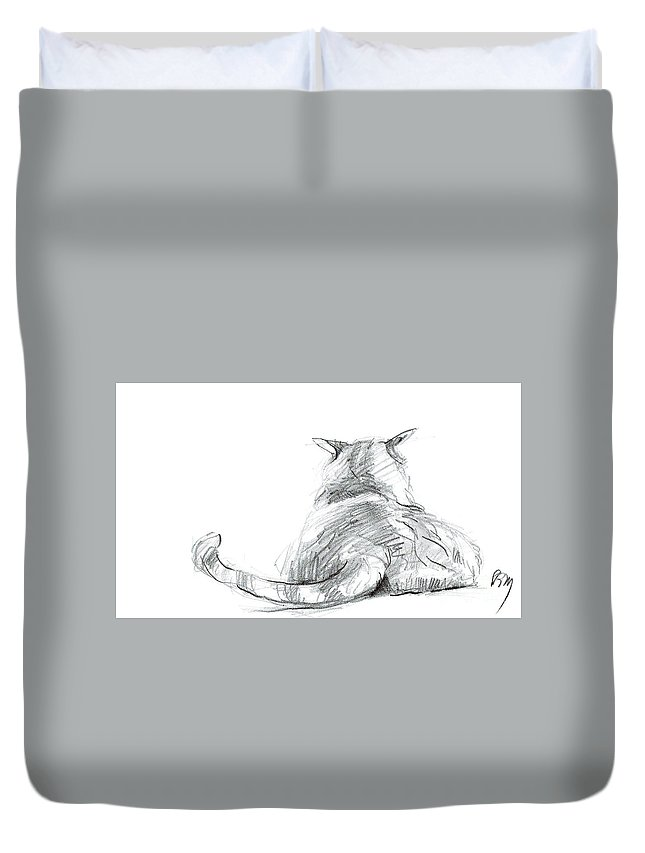 Cat Drawings Duvet Cover featuring the drawing Resting Cat by Paul Miller