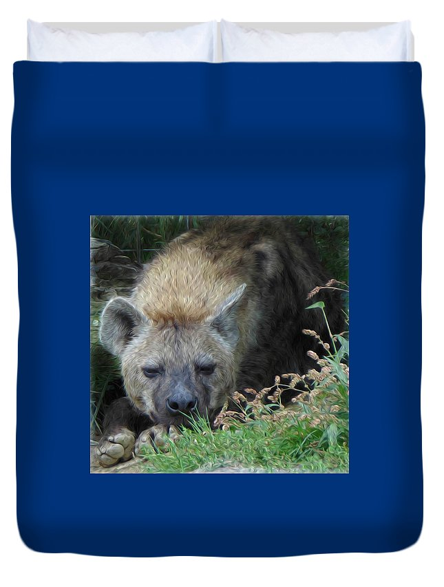 Hyena Duvet Cover featuring the digital art Resting Hyena by Leah Mealing