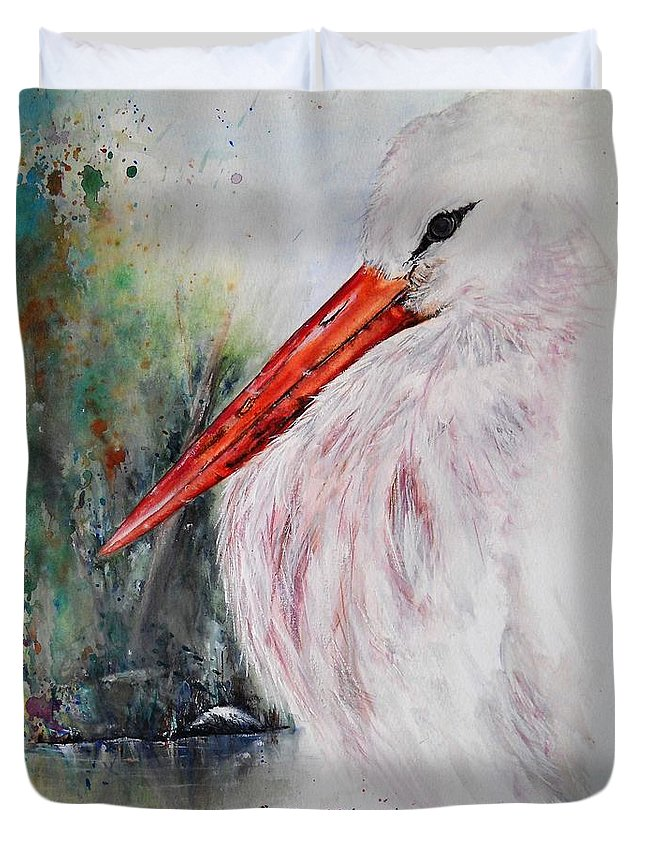 Natural Duvet Cover featuring the painting Resting by Lisa Cini