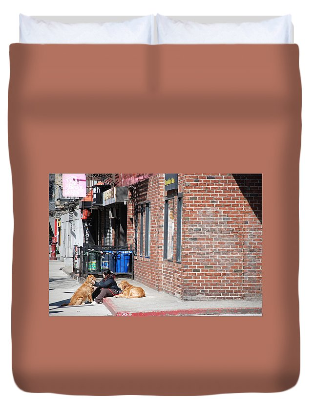 Girl Duvet Cover featuring the photograph Resting On The Corner by Rob Hans