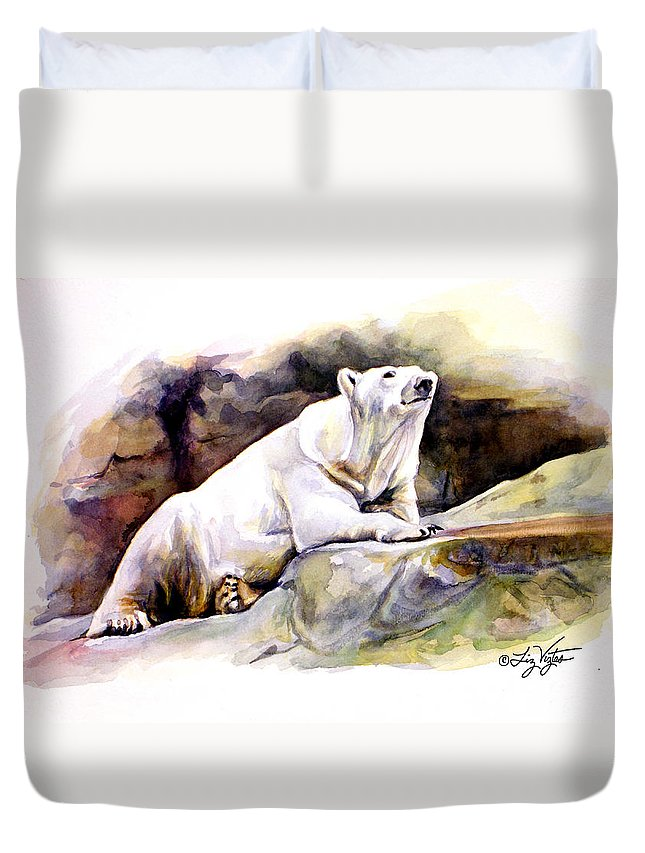 Liz Viztes Duvet Cover featuring the painting Resting Polar Bear by Liz Viztes