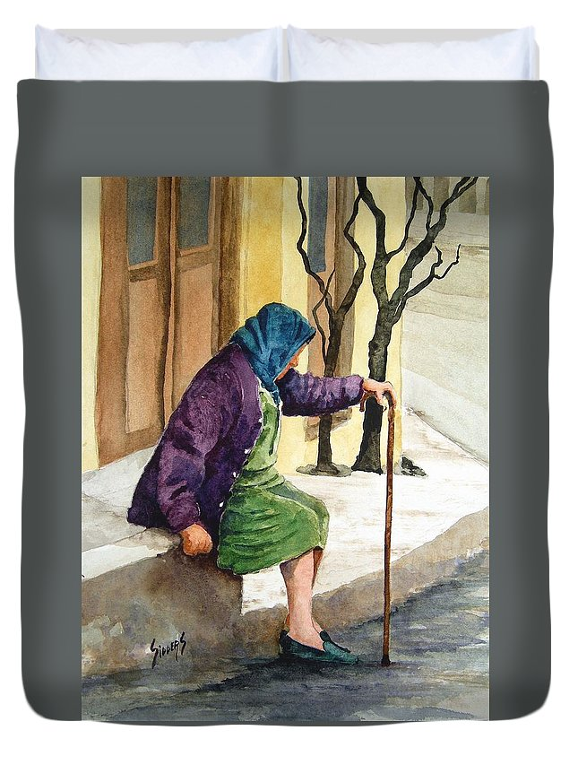 Old Lady Duvet Cover featuring the painting Resting by Sam Sidders