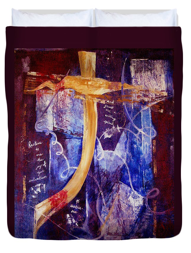 Abstract Duvet Cover featuring the painting Restore To Me by Ruth Palmer
