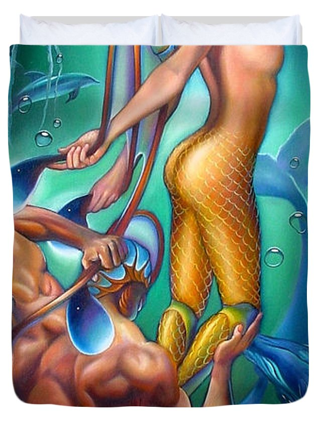 Mermaid Duvet Cover featuring the painting Resurrection by Patrick Anthony Pierson