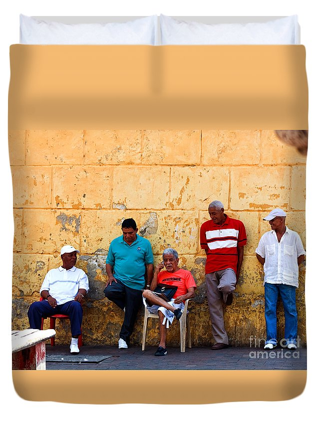 Senior Duvet Cover featuring the photograph Retired Men And Yellow Wall Cartegena by Thomas Marchessault
