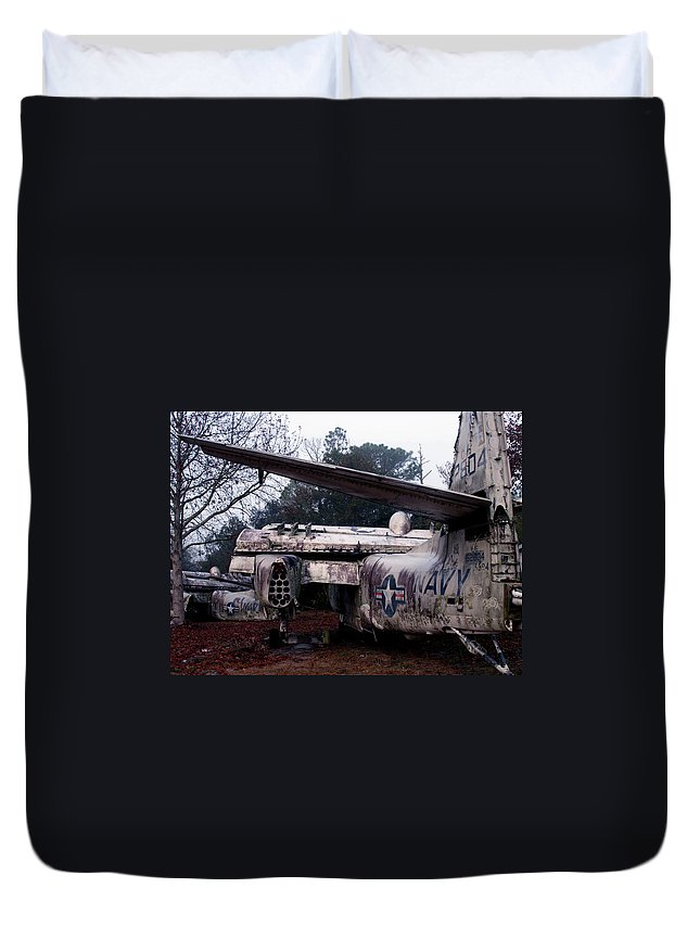 Airplane Duvet Cover featuring the photograph Retired Navy by Bob Johnson