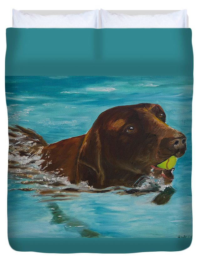Chocolate Lab Duvet Cover featuring the painting Retriever Play by Roger Wedegis