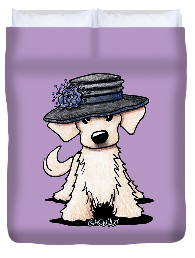 Hats Off Duvet Cover featuring the drawing Retriever Puppy by Kim Niles