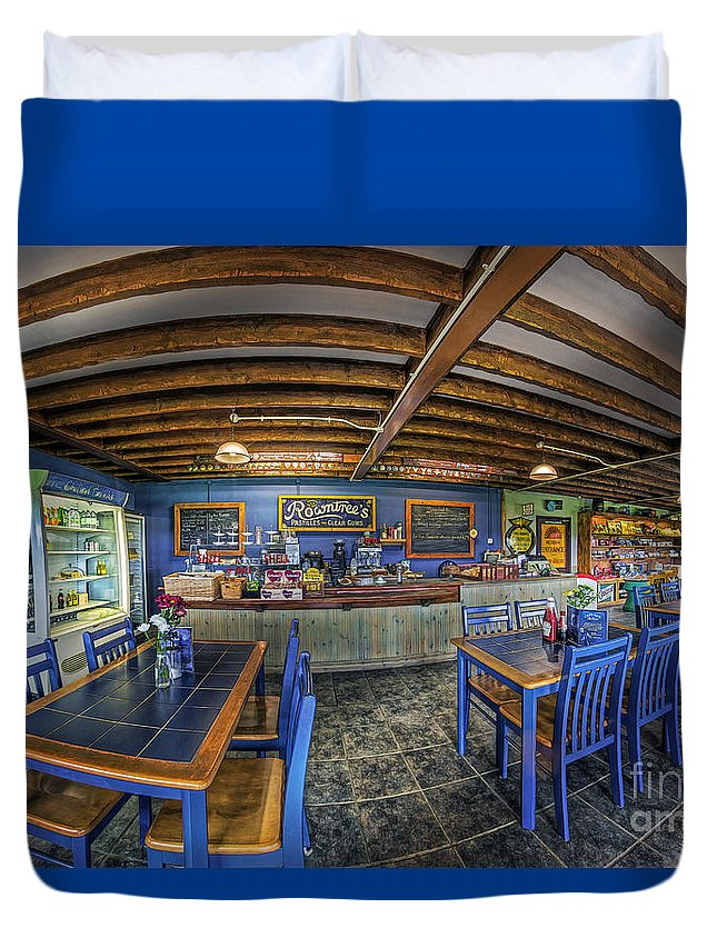 Illustration Duvet Cover featuring the photograph Retro Cafe by Ian Mitchell