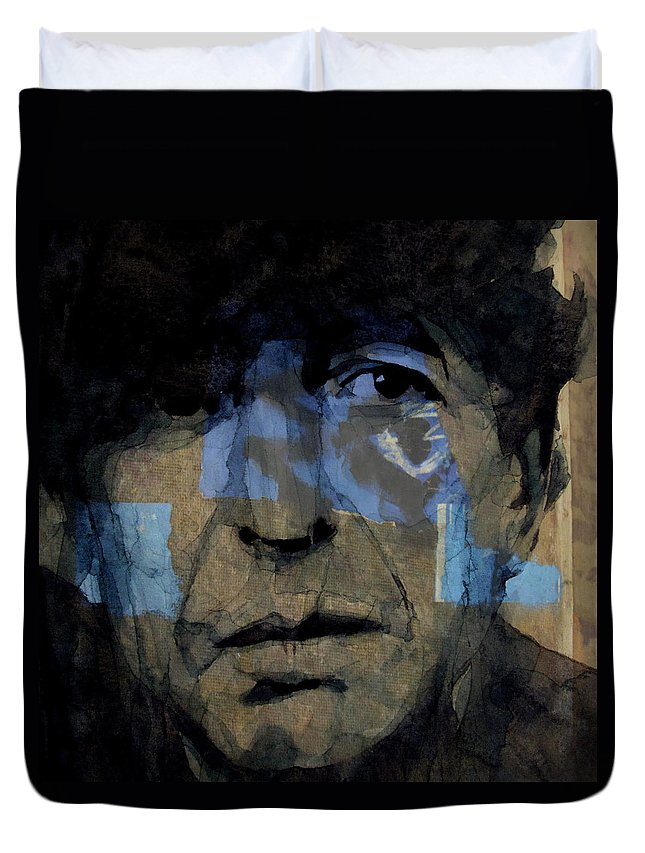 Leonard Cohen Duvet Cover featuring the painting Retro- Famous Blue Raincoat by Paul Lovering