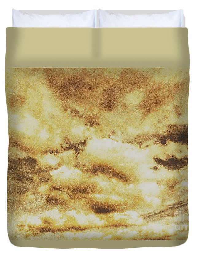Dramatic Duvet Cover featuring the photograph Retro Grunge Cloudy Sky Background by Jorgo Photography - Wall Art Gallery