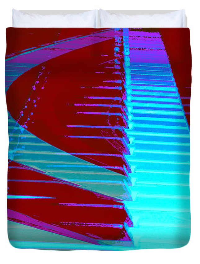 Piano Art Duvet Cover featuring the photograph Retro Keys by Linda Sannuti