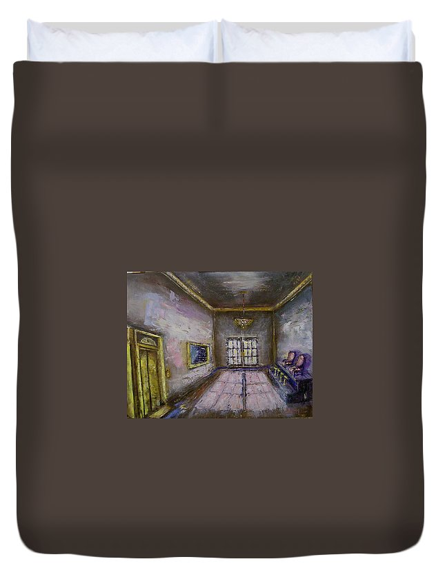 Lobby Duvet Cover featuring the painting Retro Lobby by Stephen King