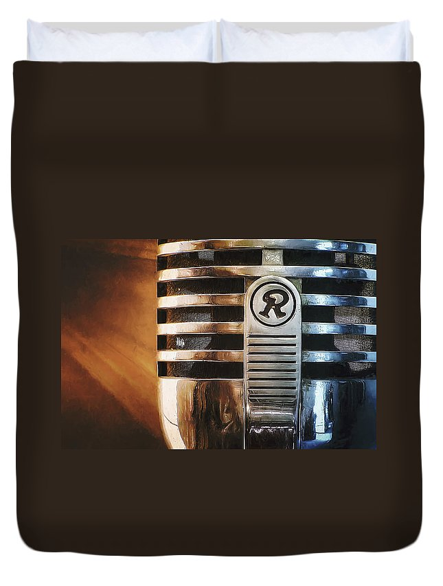 Mic Duvet Cover featuring the photograph Retro Microphone by Scott Norris